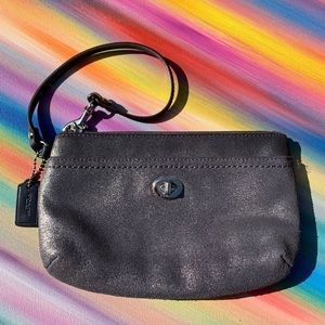 Coach Metallic Grey wristlet GUC
